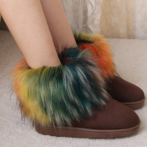 Concise Faux Fur and Suede Design Women's Short Boots