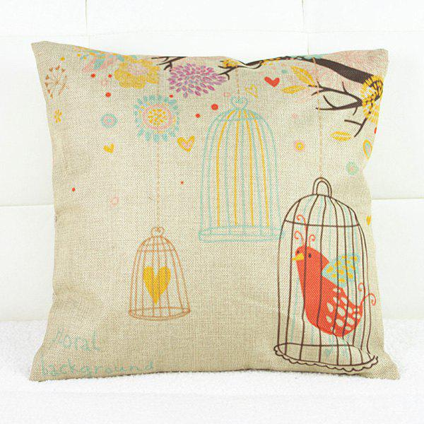 Casual Square Birdcage Pattern Pillowcase(Without Pillow Inner) - COLORMIX