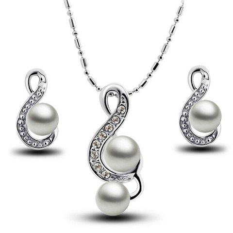 A Suit of Graceful Faux Pearl Rhinestone Necklace and Earrings For Women - SILVER