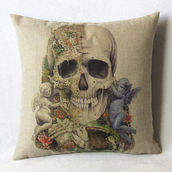 Classical Square Skull Pattern Pillowcase(Without Pillow Inner) - COLORMIX