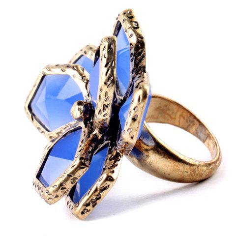 Graceful Floral Faux Sapphire Ring For Women - BLUE ONE-SIZE