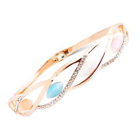Stunning Faux Opal Rhinestone Hollow Out Leaf Bracelet For Women - RANDOM COLOR