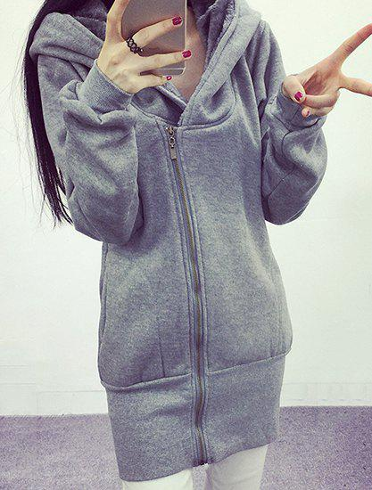Casual Solid Color Hooded Fleece Long Sleeve Hoodie For Women - GRAY XL