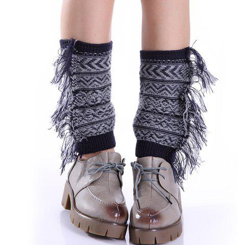 Pair of Chic Bohemian Geometric Pattern Tassel Women's Knitted Boot Cuffs - COLOR ASSORTED