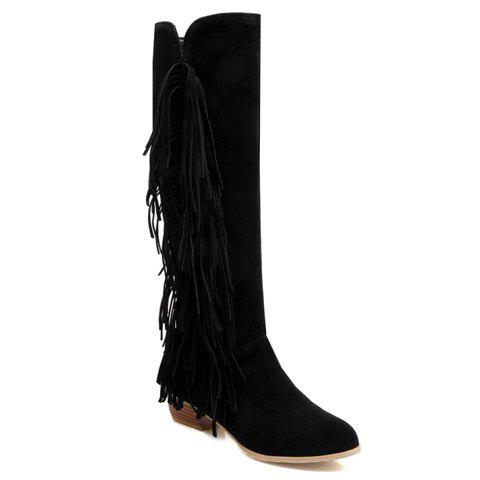 Fashionable Pure Color and Zipper Design Boots For Women - BLACK 39