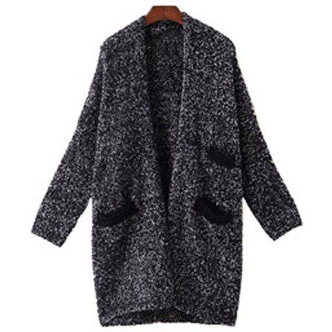 Chic Collarless Long Sleeve Pocket Design Loose-Fitting Women's Cardigan - BLACK ONE SIZE(FIT SIZE XS TO M)