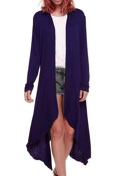 Fashionable  Long Sleeve Collarless Asymmetrical Pure Color Women's Blouse - PURPLE L