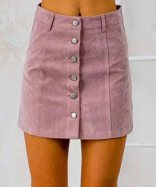 Stylish Women's High-Waisted Button Fly Faux Suede Skirt, PINK, S ...