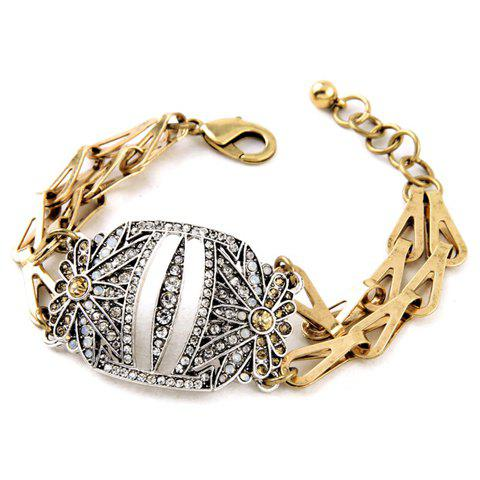 Classic Rhinestoned Hollow Out Bracelet For Women - GOLDEN