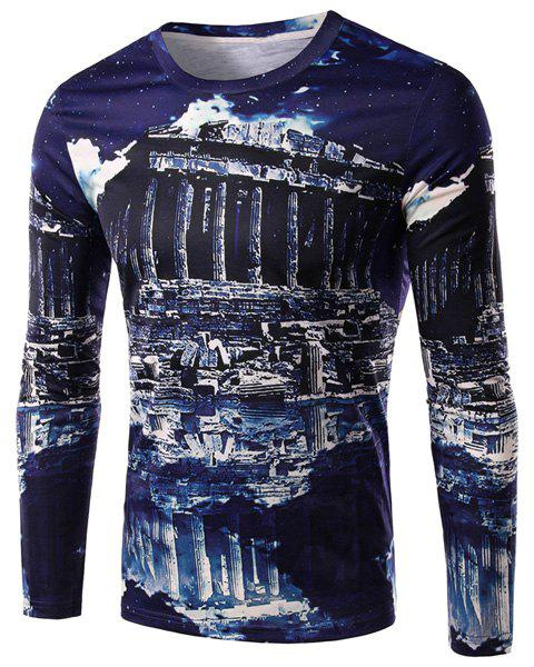 3D Ruins Print Round Neck Long Sleeve Men's T-Shirt - BLUE L