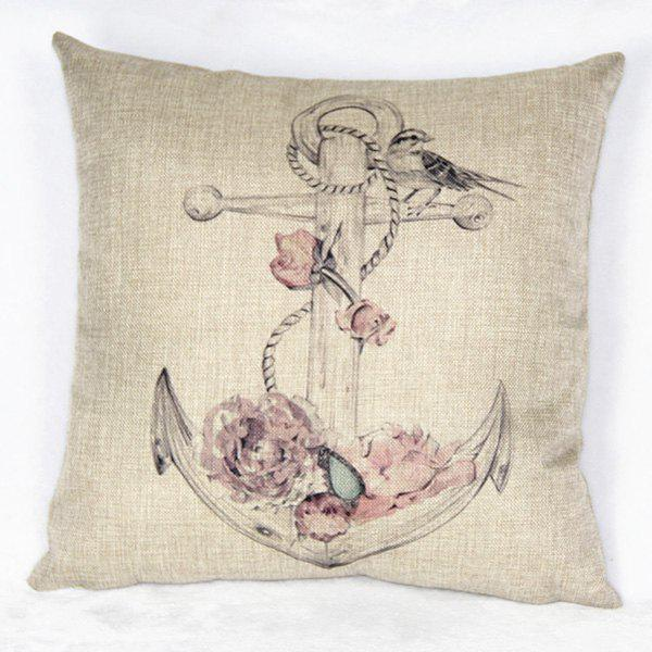 Casual Square Ancre and Rose Pattern Decorative Pillowcase(Without Pillow Inner)