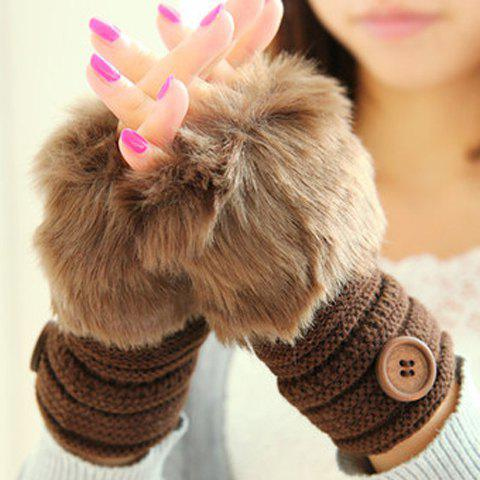 Pair of Chic Faux Fur and Button Embellished Women's Knitted Short Fingerless Gloves