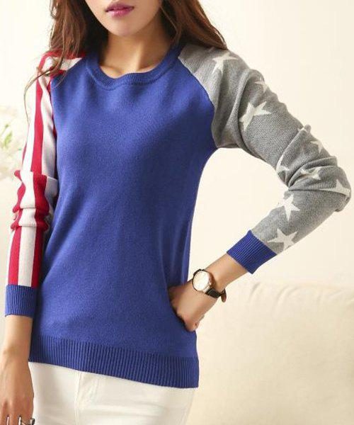 Stylish Jewel Neck Long Sleeve Striped and Star Pattern Sweater For Women - SAPPHIRE BLUE ONE SIZE(FIT SIZE XS TO M)
