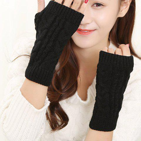 Pair of Chic Solid Color Hemp Flowers Women's Knitted Short Fingerless Gloves