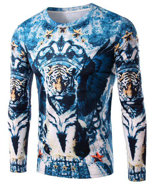 3D Tiger and Star Print Round Neck Long Sleeve Men's T-Shirt - BLUE M