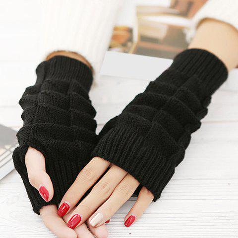 Pair of Chic Rectangle Shape Design Women's Knitted Short Fingerless Gloves - RANDOM COLOR