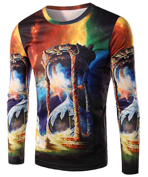 3D Colorful Sand Clock Print Round Neck Long Sleeve Men's T-Shirt - COLORMIX L