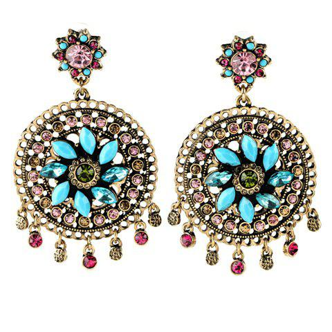 Pair of Faux Crystal Floral Earrings - BRONZE COLORED