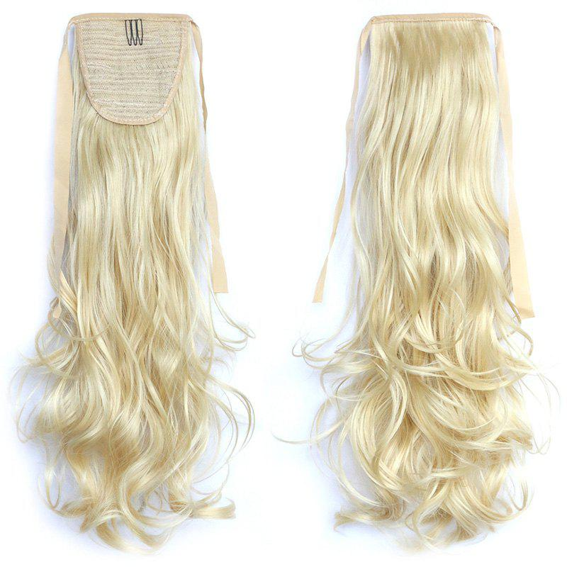 Fashion Long Assorted Color Synthetic Stunning Shaggy Wavy Capless Women's Ponytail - PALE YELLOW /