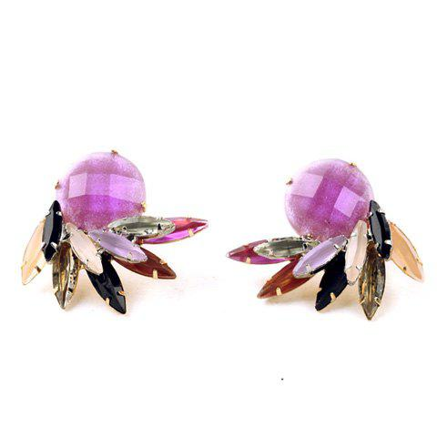 Pair of Trendy Rhinestone Leaf Earrings For Women - VIOLET ROSE