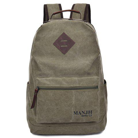 Trendy Letter Print and Solid Color Design Backpack For Men - ARMY GREEN