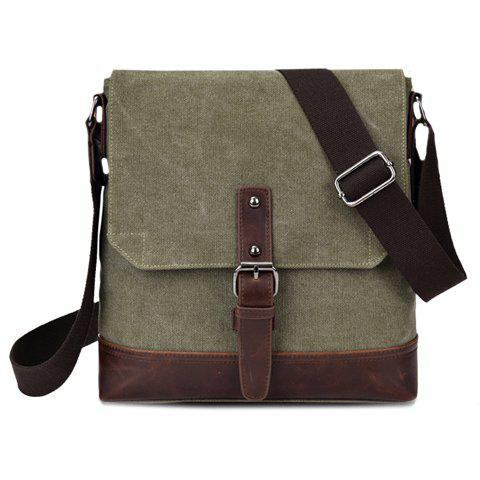 Stylish Buckle and Splicing Design Messenger Bag For Men - ARMY GREEN