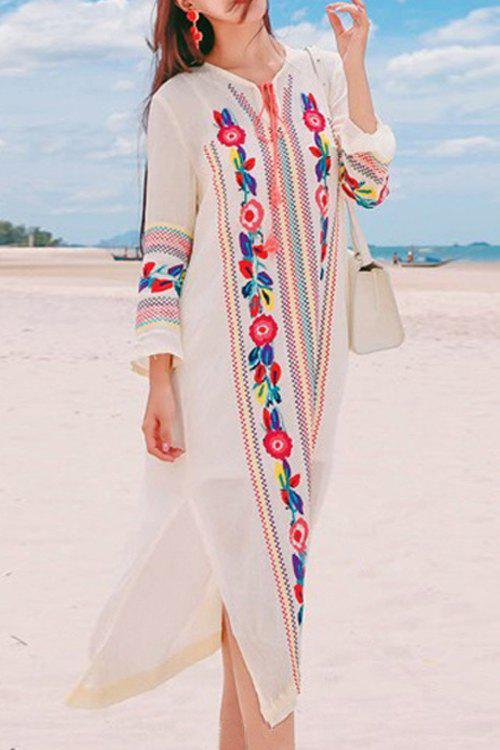 Bohemian V-Neck Long Sleeve Embroidered Side Slit Women's Midi Dress - WHITE L