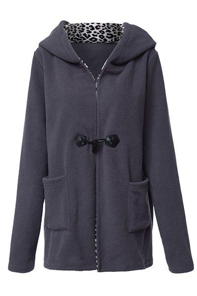 Casual Style Long Sleeve Hooded Leopard Print Women's Coat - DEEP GRAY L