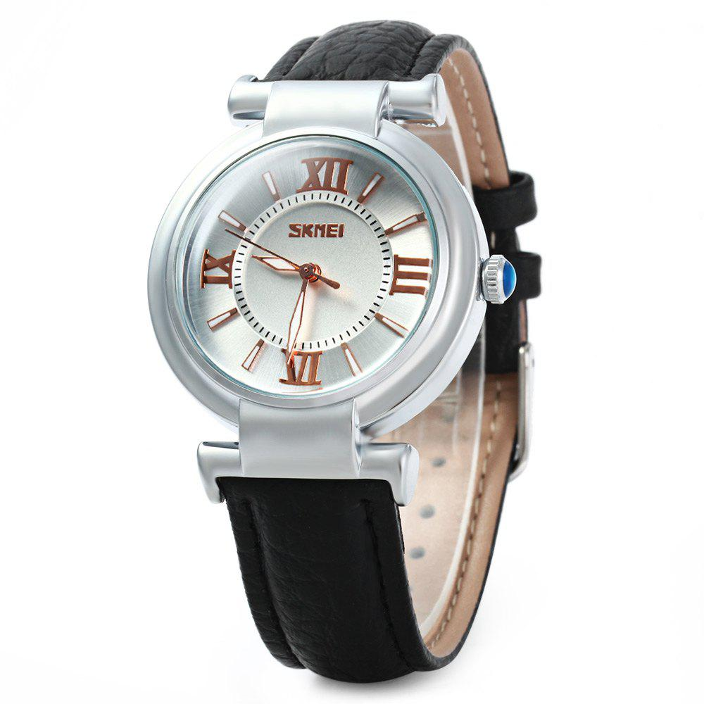 Skmei 9075 Female Japan Quartz Watch Round Dial Leather Band 30M Water Resistant