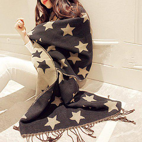 Chic Fulled Five-Pointed Star Pattern Tassel Women's Winter Scarf - BLACK