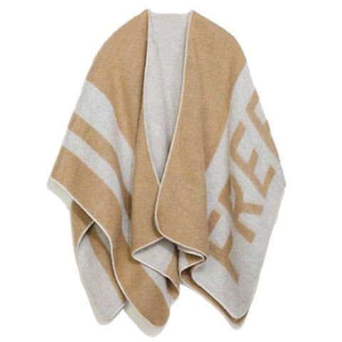 Chic Stripe and Letter Pattern Women's Winter Pashmina - LIGHT CAMEL