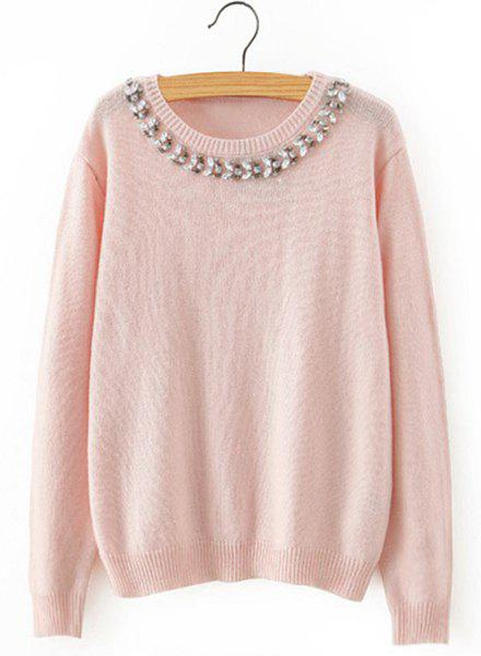 Chic Long Sleeve Round Collar Beaded Women's Knitwear - PINK L
