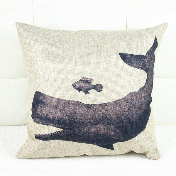 Modern Whale Pattern Square Pillowcase(Without Pillow Inner) - COLORMIX