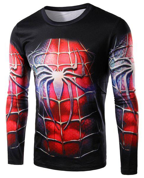3D Spider-Man Costume Print Round Neck Long Sleeve Men's T-Shirt - BLACK M