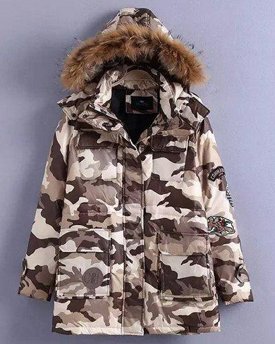 Stylish Hooded Long Sleeve Camouflage Pattern Faux Fur Women's Coat - COLORMIX S