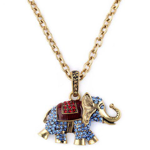 Rhinestoned Elephant Pendant Sweater Chain - GOLDEN