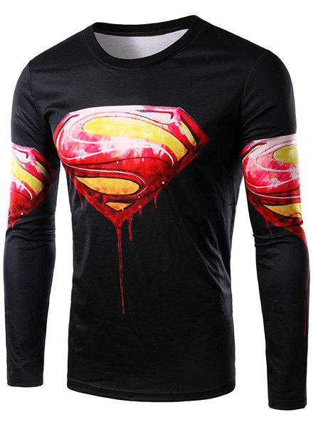 3D Logo Logo Blood Superman Print Round Neck Long Sleeve Men's T-Shirt