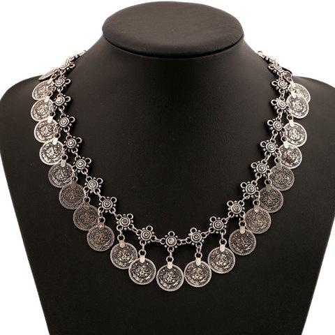 Classic Pure Color Coin Necklace For Women - SILVER