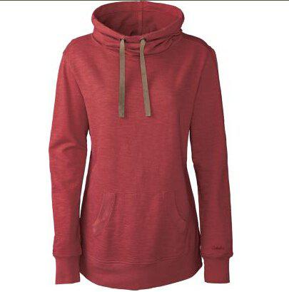 Classic Long Sleeve Hooded Solid Color Women's Pullover Hoodie - CLARET S