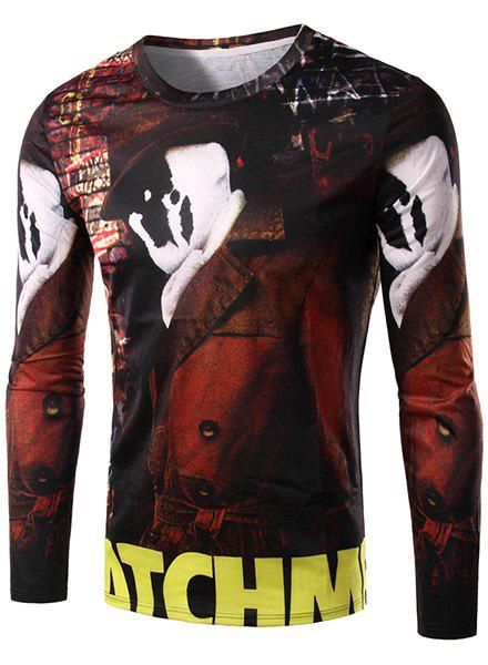 3D White Face Man and Letter Print Round Neck Long Sleeve Men's T-Shirt