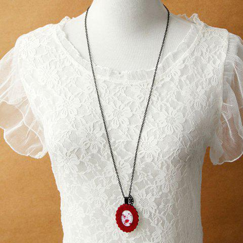 Exaggerated Oval Shape Sweater Chain For Women - RED