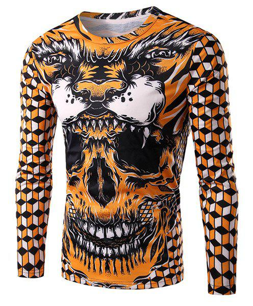 3D Geometric and Skull Print Round Neck Long Sleeve Men's T-Shirt