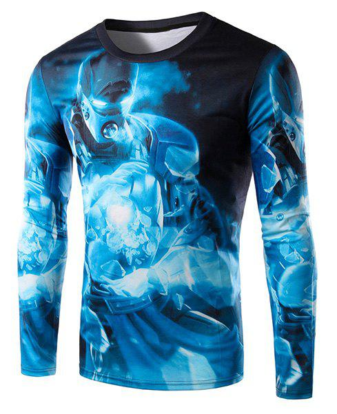 3D Blue Iron Man Print Round Neck Long Sleeve Men's T-Shirt - BLACK L