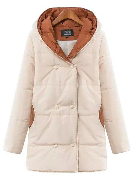 Trendy Women's Hooded Long Sleeves Knitting Spliced Double-Breasted Coat - OFF WHITE L