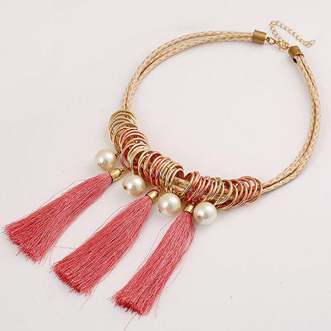Graceful Tassel Layered Faux Pearl Necklace For Women - PINK