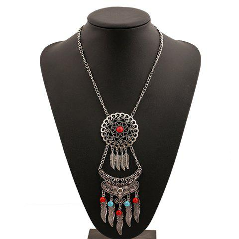 Vintage Turquoise Tassel Leaf Necklace For Women - SILVER
