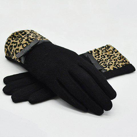 Pair of Chic Small Bow Embellished Leopard Pattern Brim Women's Winter Gloves - AS THE PICTURE