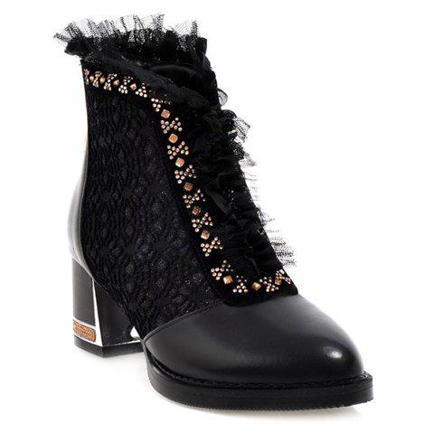 Stylish Rhinestones and Pointed Toe Design Women's Short Boots - BLACK 39
