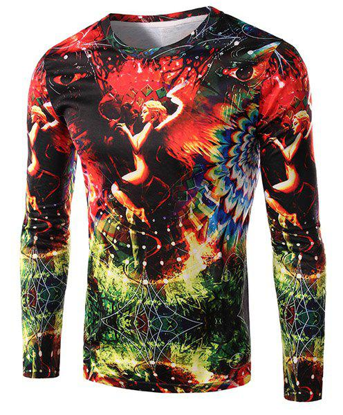 3D Devil and Angel Print Round Neck Long Sleeve Men's T-Shirt - COLORMIX 2XL
