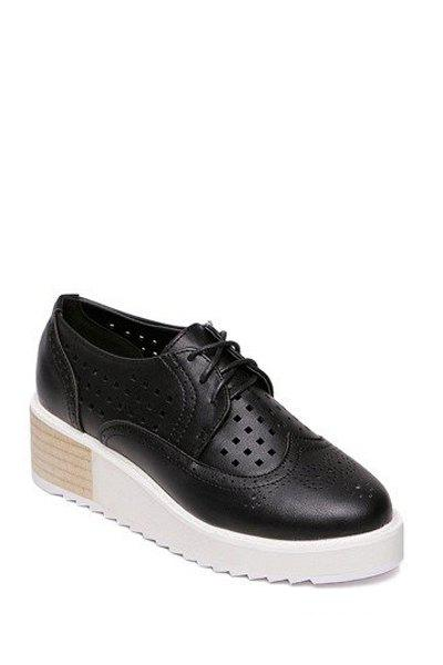 Preppy Hollow Out and Lace-Up Design Women's Platform Shoes - BLACK 37